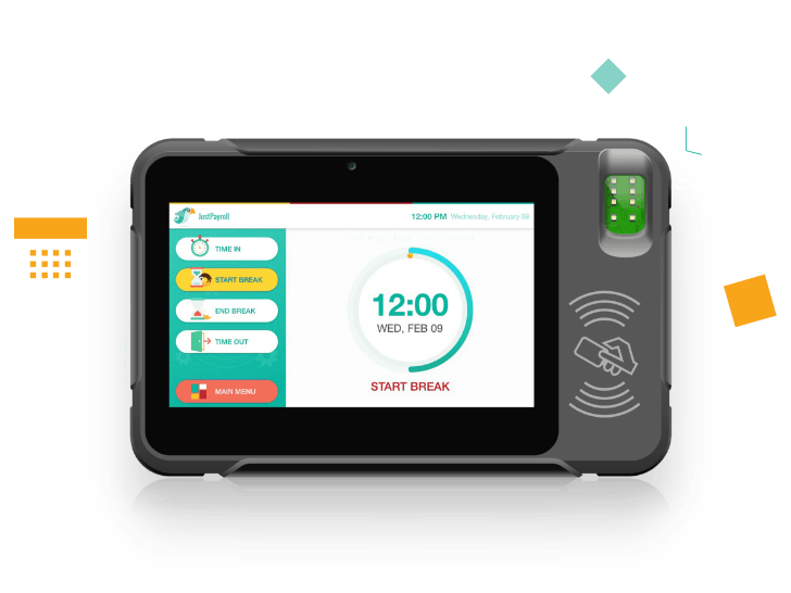 JustPayroll Biometric Time Attendance Device